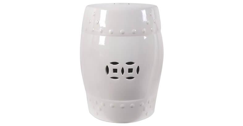 18 Ceramic Garden Stool White