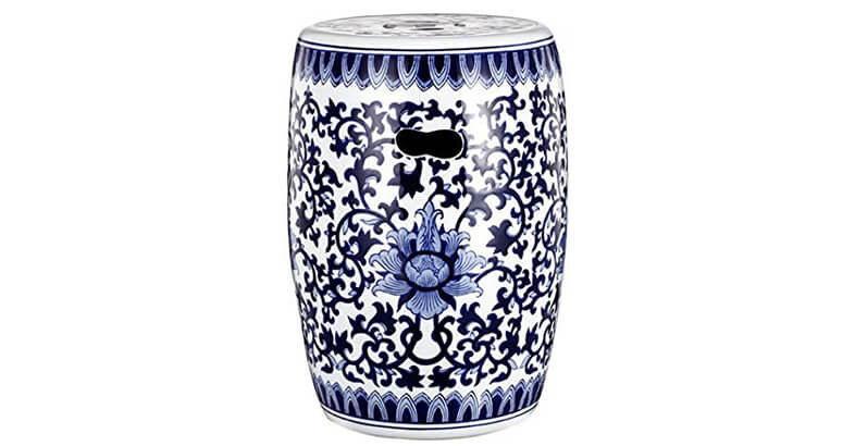 Blue & White Ceramic Garden Stool 11 16