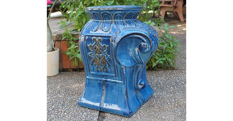 International Caravan Elephant Ceramic Garden Stool, Navy Blue