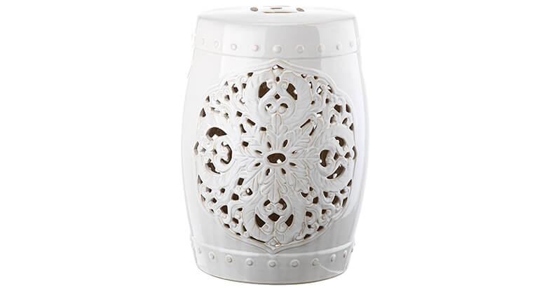 Safavieh Castle Gardens Collection Flora White Glazed Ceramic Garden Stool