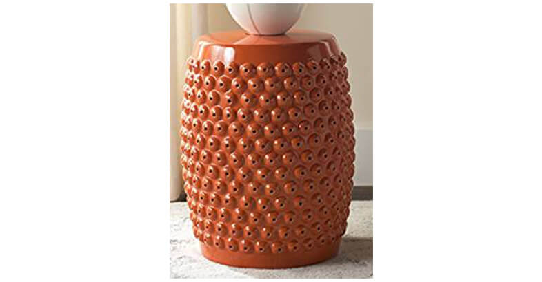 Safavieh Castle Gardens Collection Stella Nail Head Orange Glazed Ceramic  Garden Stool